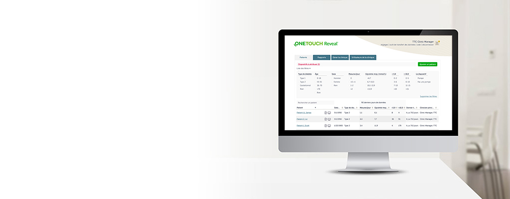 Application Web OneTouch Reveal® pour les professionnels